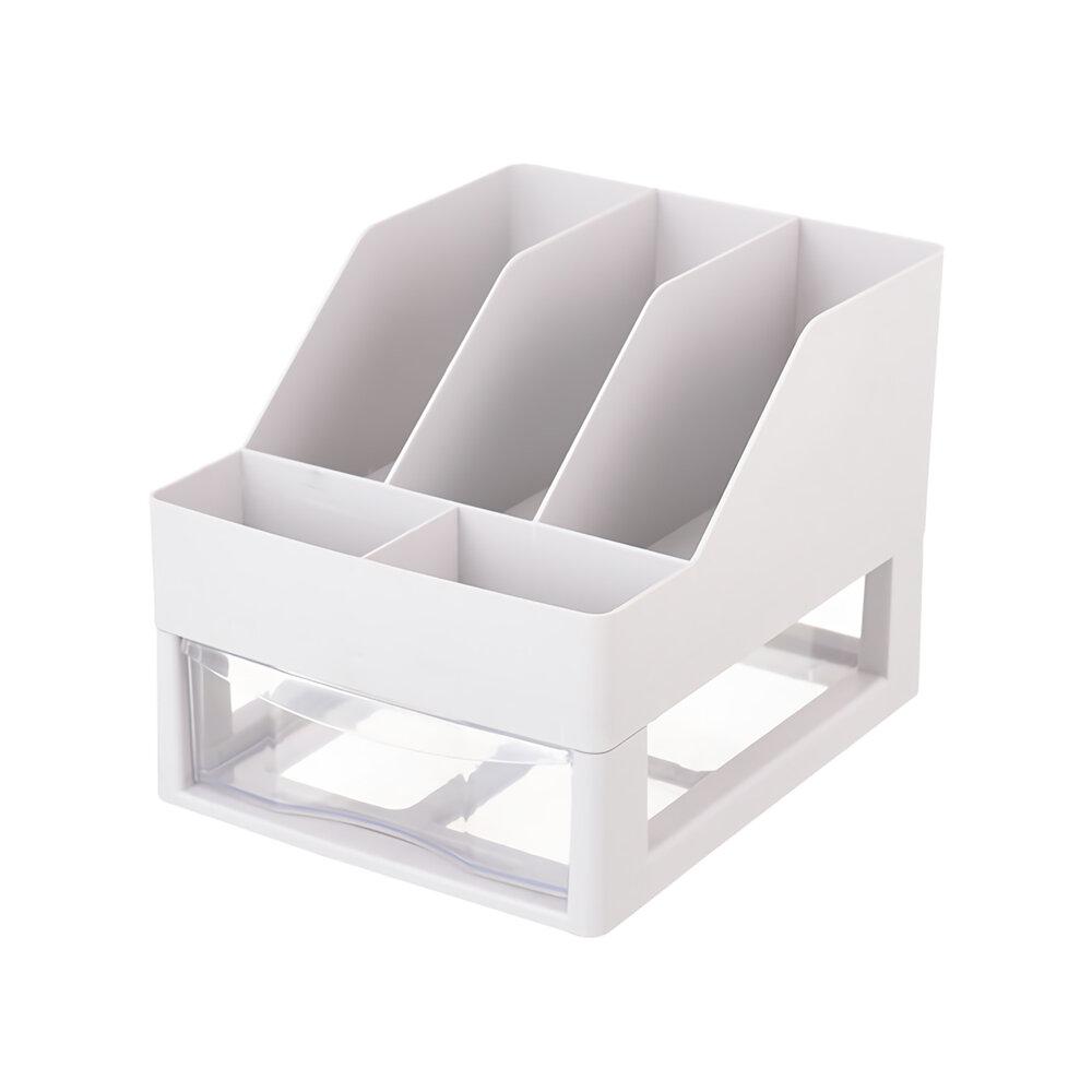Multifunctional Desktop Orangizer Document Display Box with Drawer Miscellaneous Plastic Document Rack Bookshelf Office