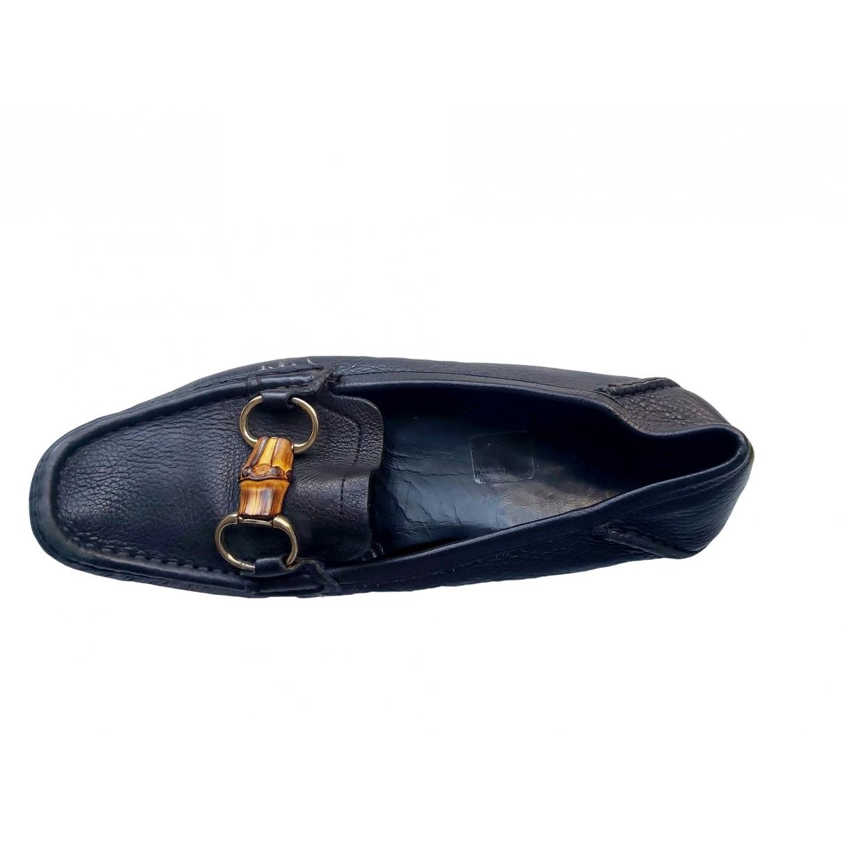 Gucci \N Black Leather Flats for Women 39.5 EU