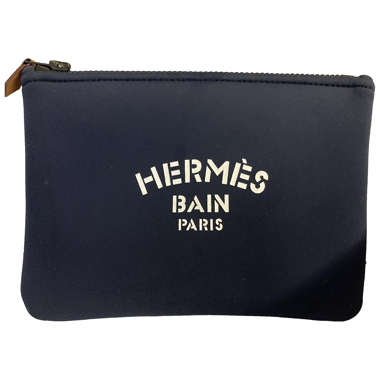 Hermes \N Clutch in  Blau Leinen
