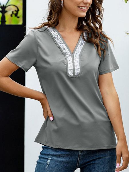 Milanoo Short Sleeves Tees Grey Polyester Two-Tone Layered V-Neck Women T Shirt