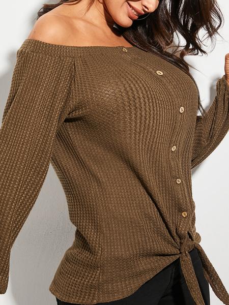 YOINS Khaki Button Design Off The Shoulder Long Sleeves Sweater
