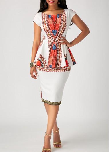 Wedding Guest Dress Cap Sleeve Tribal Print Peplum Waist Dress - L