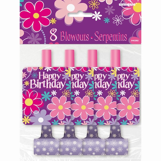 Blossom Birthday Party Blowers, 8Ct By Unique   Michaels®