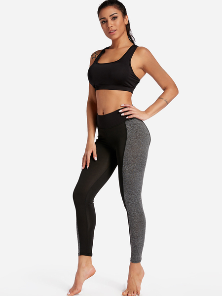 Yoins Black and Grey Middle-waisted Sports Leggings