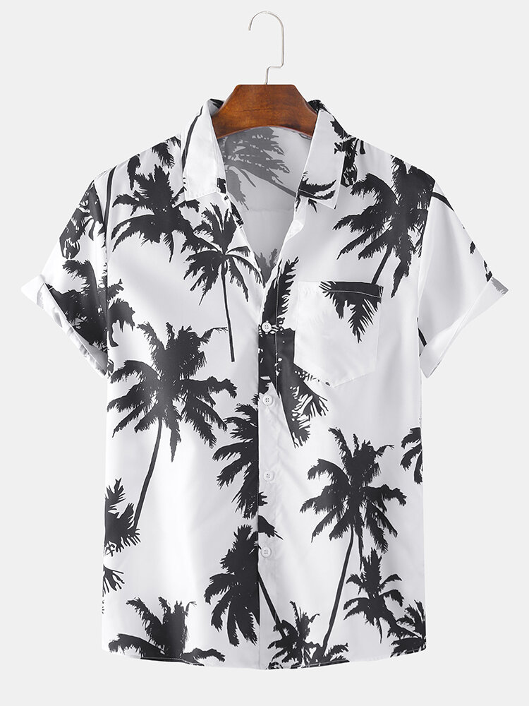 Mens Holiday Coconut Tree Printed Plain Beach Short Sleeve Shirt