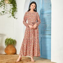 Ditsy Floral Flounce Hem Belted Dress