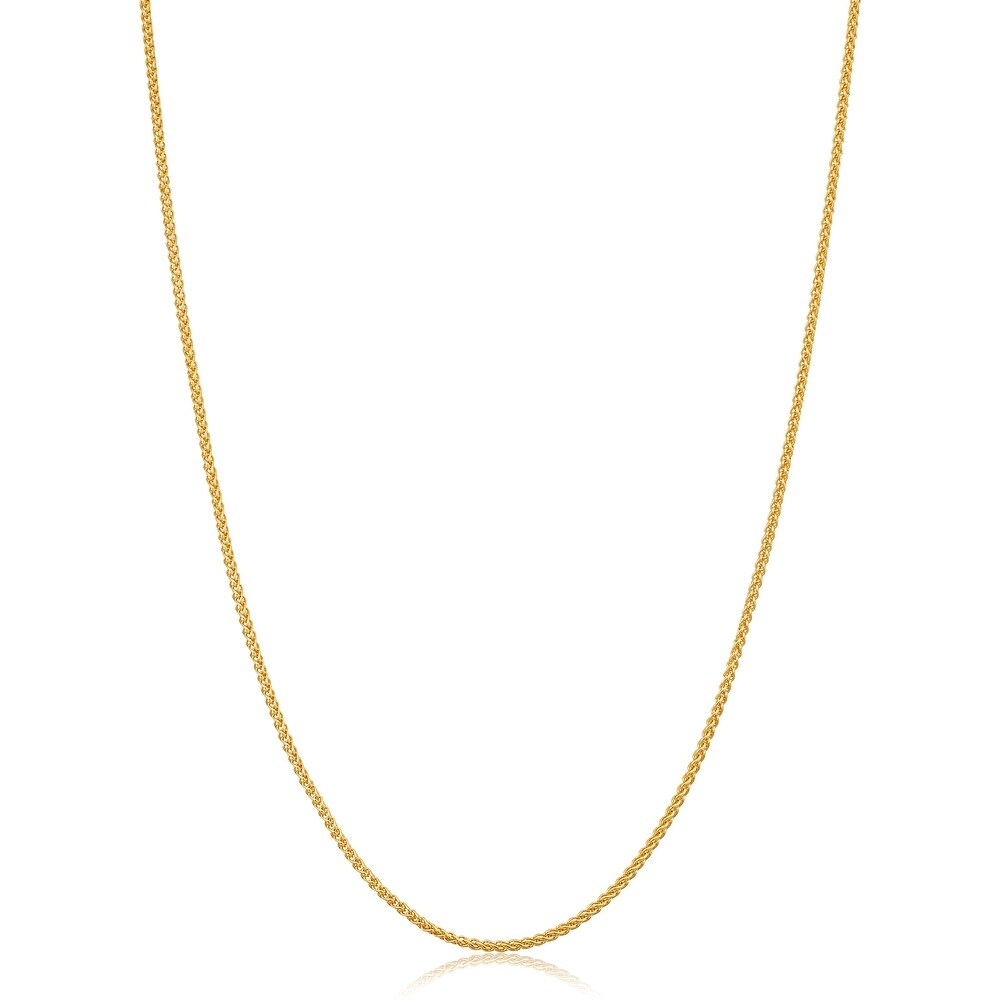 14k Yellow Gold Filled 1.2 millimeter Round Wheat Chain Necklace for Women (14 - 30 inches) (20 Inch)