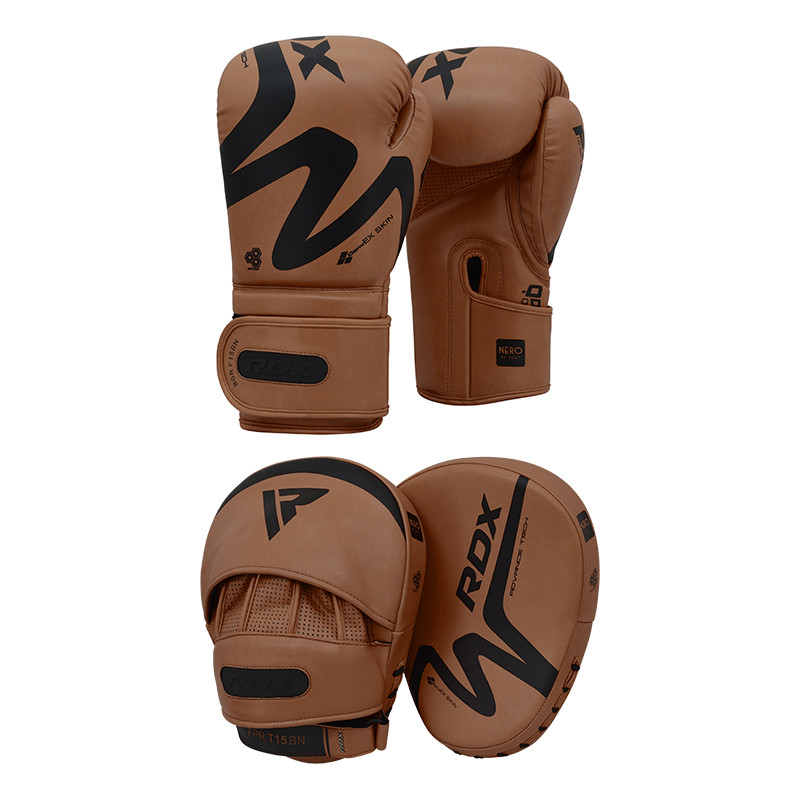 RDX T15 Boxing Gloves 12 oz and Focus Pads Set Brown/Black