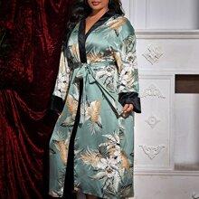 Plus Floral Print Belted Satin Robe