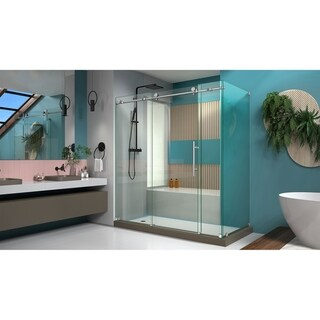 DreamLine Enigma-X 32 1/2 in. D x 72 3/8 in. W x 76 in. H Fully Frameless Sliding Shower Enclosure - 32.5 x 68.38 - 72.38 (Brushed Stainless