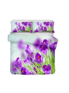 Purple Crocus And Its Green Leaves Printed 3-Piece Bedding Sets/Duvet Covers