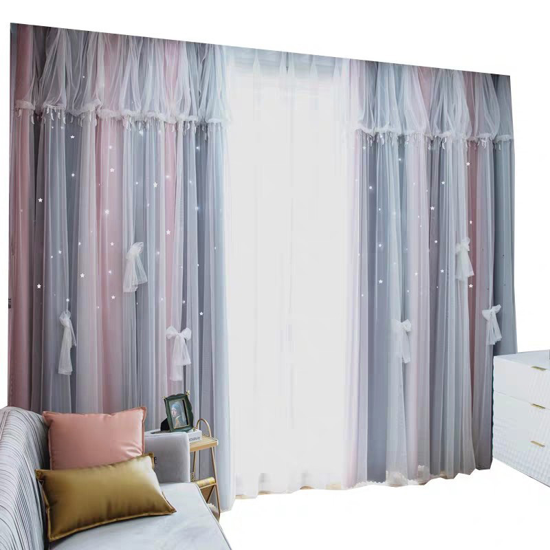 Princess Style Star Hollowed-out Color Block Cloth and Sheer Sewing Together Custom Blackout Curtain Sets for Living Room Bedroom