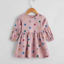 Baby Girl Star Print Frill Trim Corduroy Babydoll Dress