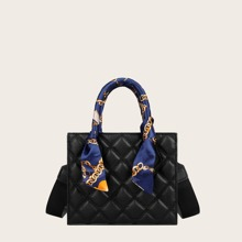 Twilly Scarf Decor Quilted Satchel Bag
