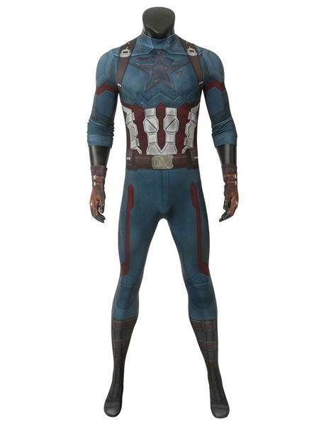 Milanoo Marvel Comics Captain America Cosplay Avengers 3 Infinity War Steve Rogers Cosplay Blue Jumpsuit Carnival