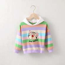 Toddler Girls Rainbow Stripe And Cartoon Slogan Hoodie