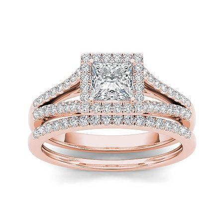 1 CT. T.W. Diamond 10K Rose Gold Bridal Ring Set, 8 1/2 , No Color Family