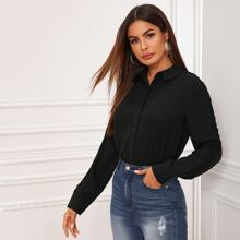 Lace Panel Curved Hem Button Up Blouse