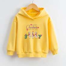Toddler Girls Christmas And Slogan Graphic Hooded Sweatshirt