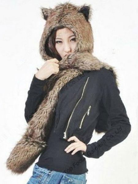 Milanoo Faux Fur Hats Winter Animal Ears Fluffy Mitten Scarfs Paws