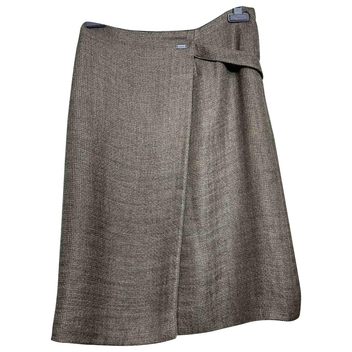 Chanel - Jupe   pour femme en laine - kaki