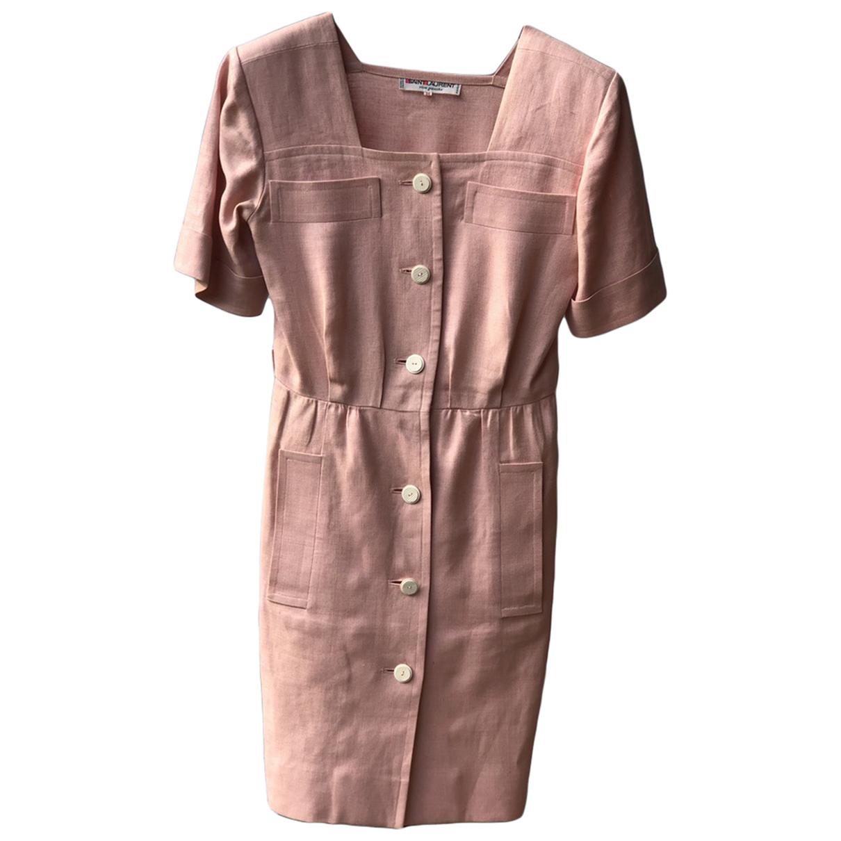Yves Saint Laurent N Pink Linen dress for Women 36 FR