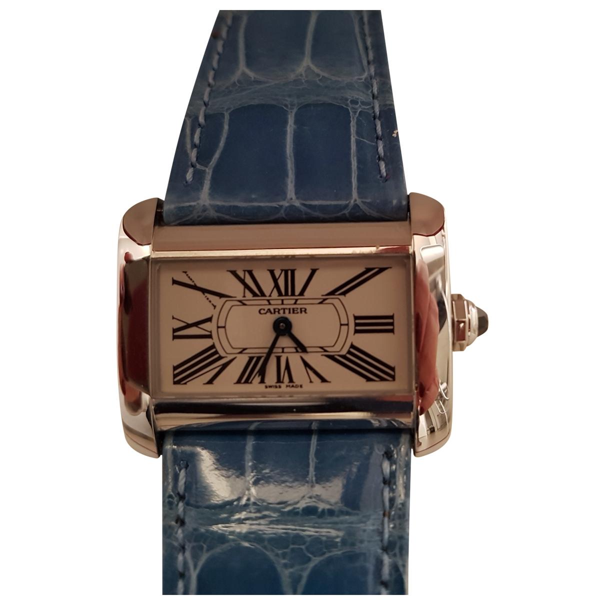 Cartier Divan Uhr in  Ecru Stahl
