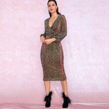 Surplice Neck Lantern Sleeve Sequin Dress