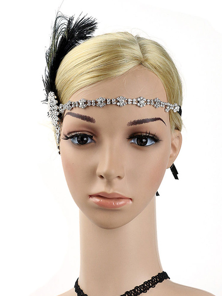 Milanoo 1920s Great Gatsby Headband Flapper Headpieces Feather Rhinestone Women Retro Hair Accessories Halloween