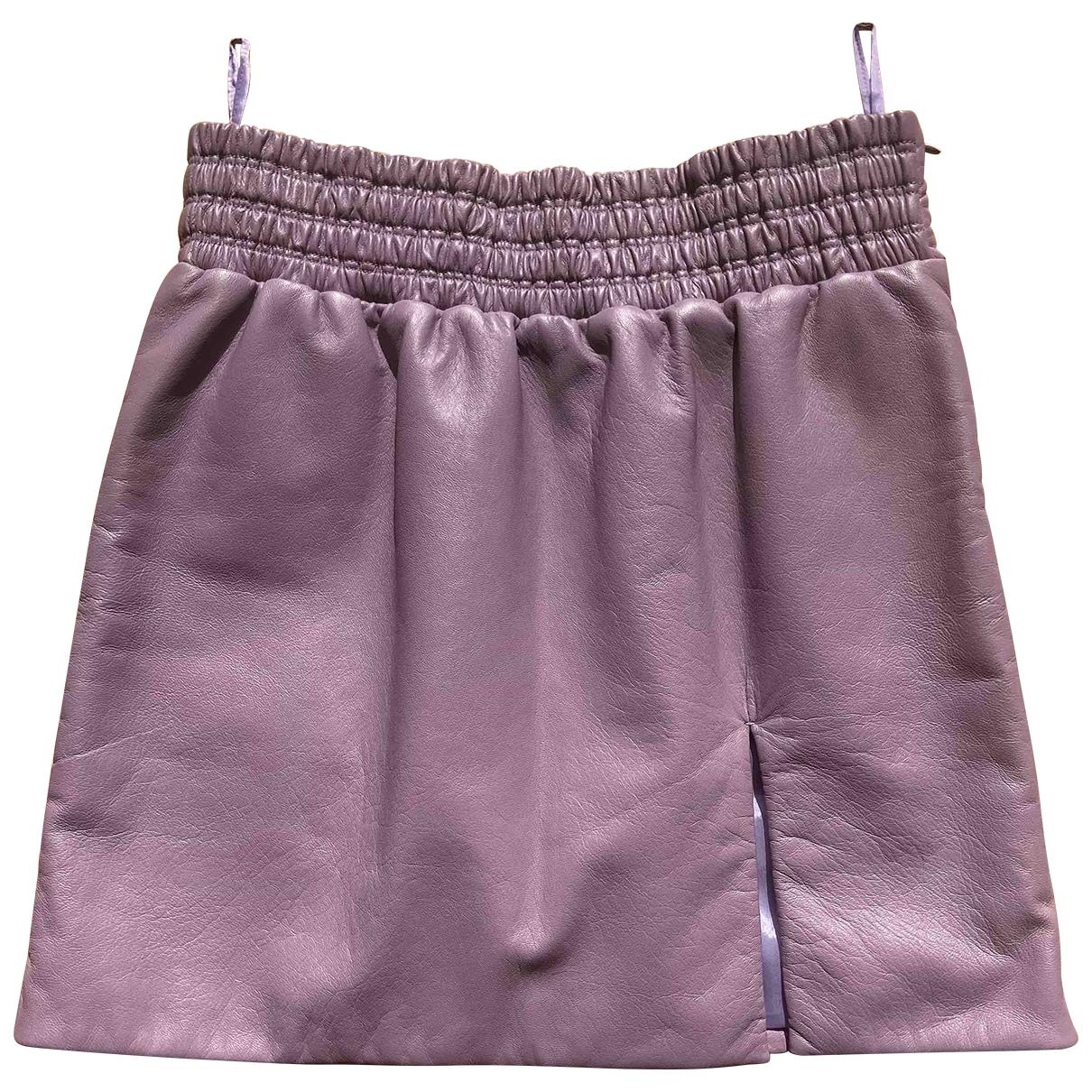 Miu Miu - Jupe   pour femme en cuir - violet