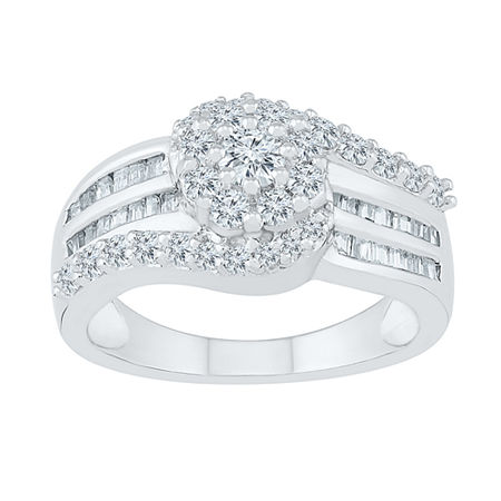 Womens 1 CT. T.W. Genuine White Diamond 10K White Gold Cluster Cocktail Ring, 9 , No Color Family