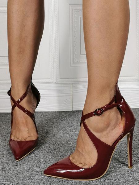 Milanoo Women High Heels Pointed Toe Criss Cross Stiletto Heels Plus Size Shoes