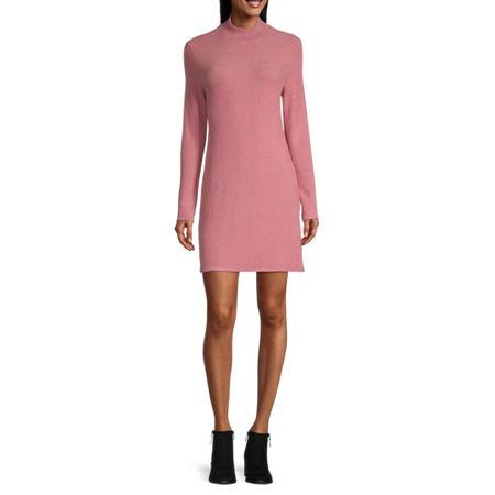 Arizona-Juniors Long Sleeve Swing Dresses, Large , Pink