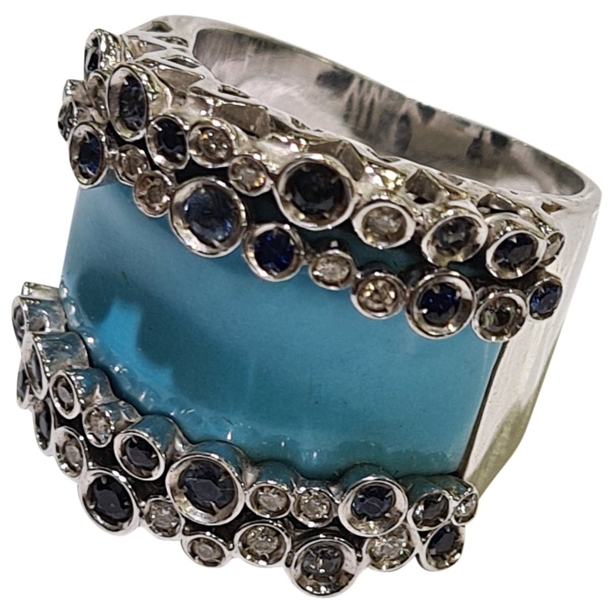 Non Signé / Unsigned Aigues-Marines Blue White gold ring for Women 59 MM