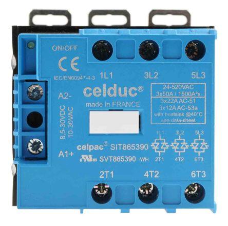 Celduc 22 A Solid State Relay, Zero Crossing, DIN Rail, Thyristor, 510 V ac Maximum Load