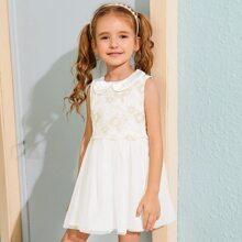 Toddler Girls Peter Pan Neck Contrast Lace A-line Dress