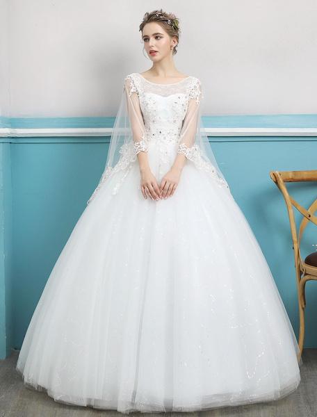 Milanoo Princess Ball Gown Wedding Dresses Lace Ivory Beading Backless Floor Length Bridal Dress