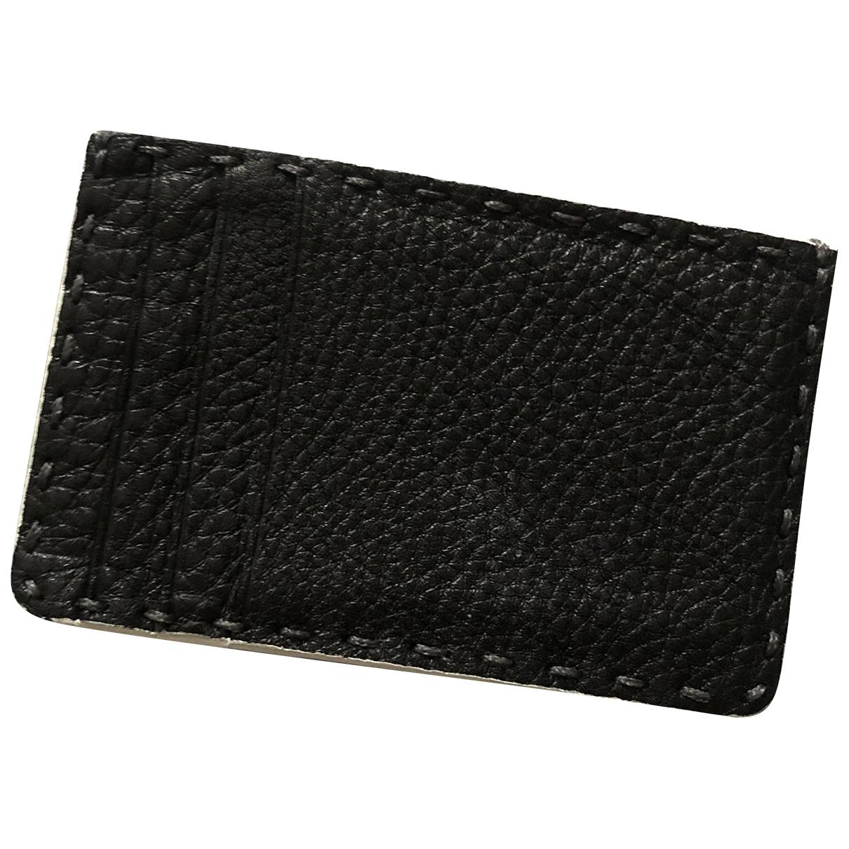 Fendi \N Black Leather Small bag, wallet & cases for Men \N