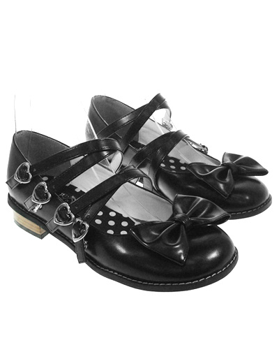 Milanoo Sweet Black Lolita Low Heels Shoes Heart Shape Straps Buckles Bow