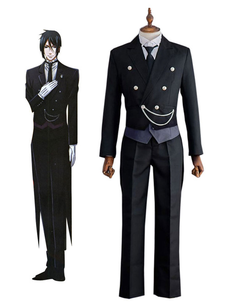 Milanoo Black Butler Kuroshitsuji Sebastian Michaelis Halloween Cosplay Costume  Halloween