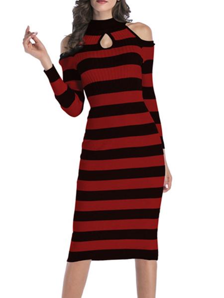 Milanoo Vestido de punto Hunter Green Stripes Jewel Neck Mangas largas Acrilico Vestido ajustado casual
