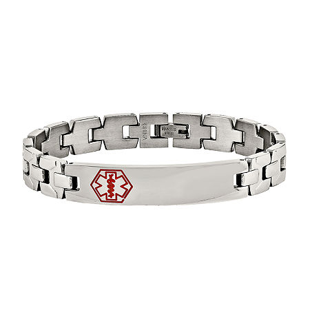 Mens Stainless Steel Red Enamel Medical Chain Bracelet, One Size , No Color Family