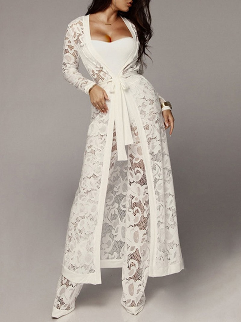 Ericdress Coat Office Lady Hollow Straight Two Piece Sets