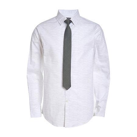 Van Heusen Big Boys Point Collar Long Sleeve Shirt + Tie Set, 16 , Gray