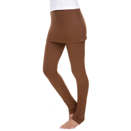 White Mark Skirted Womens Mid Rise Legging, X-large , Brown