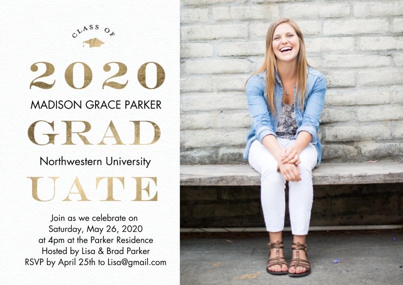 2020 Graduation Invitations 5x7 Cards, Premium Cardstock 120lb, Card & Stationery -2020 Graduate Gold by Tumbalina