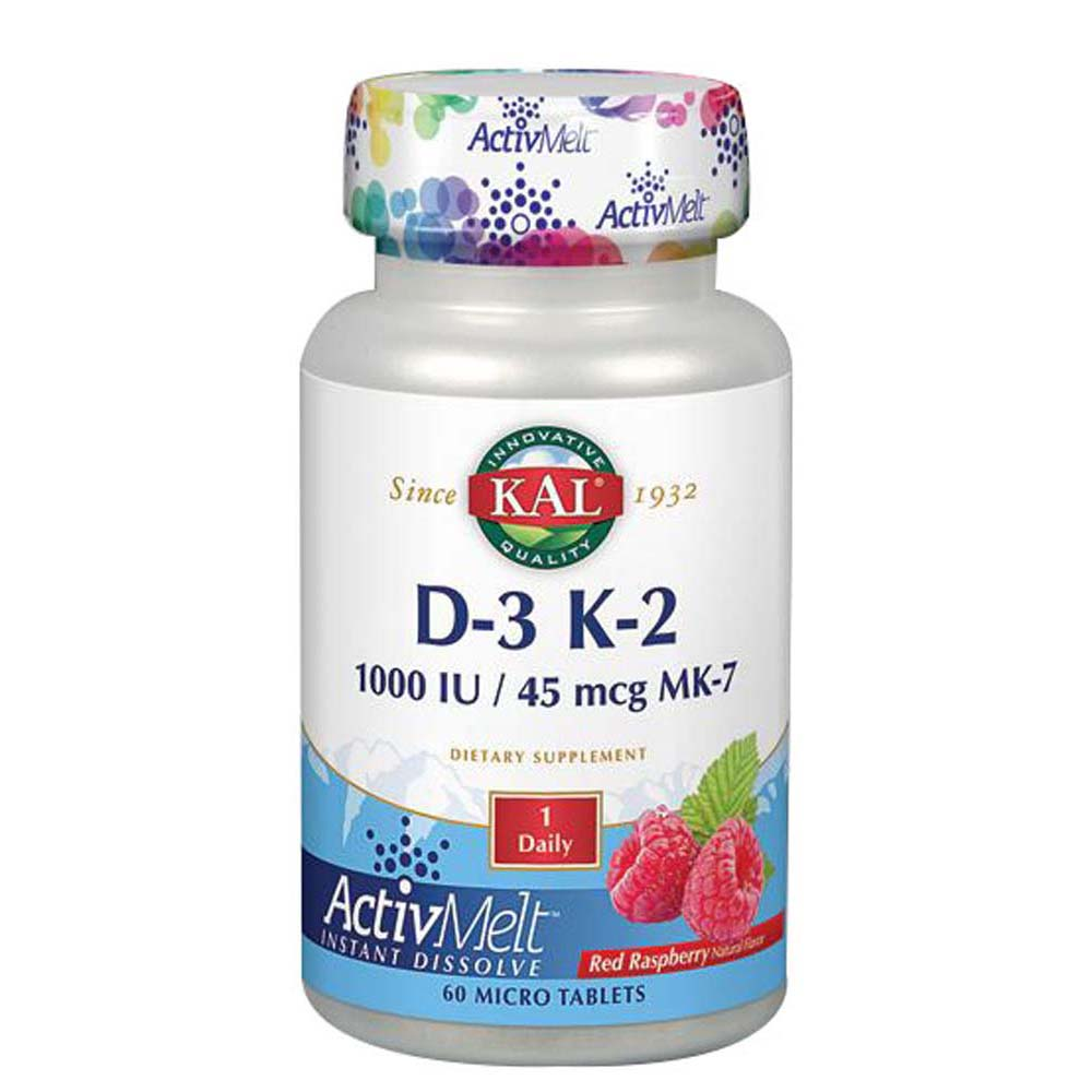 D-3 K-2 ActivMelt Red Raspberry 60 Tabs by Kal
