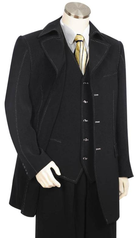 Mens Button Fastener Trench Collar Black Zoot Suit