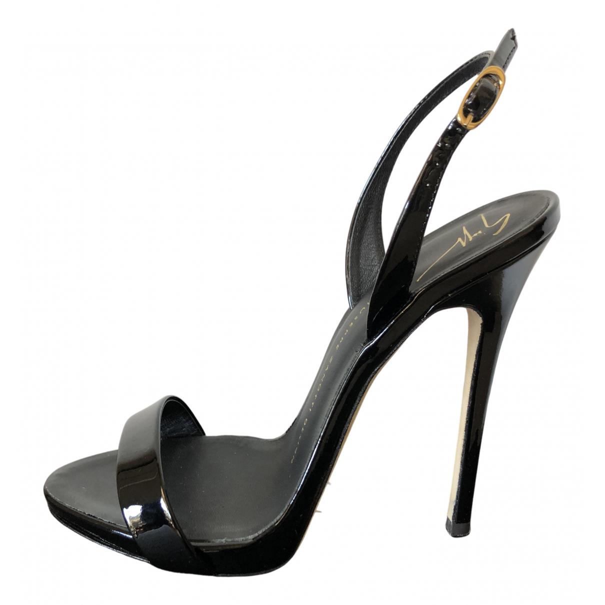 Giuseppe Zanotti N Black Patent leather Sandals for Women 37 EU