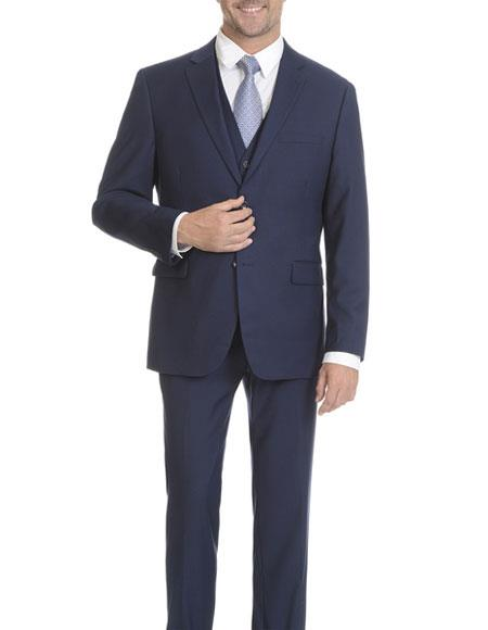 Caravelli Mens SingleBreasted MidnightBlue Vested 2Button SlimFit Suit